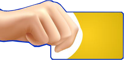 hand with yellow card