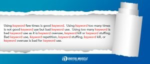 SEO specialists don't recommend keyword stuffing.